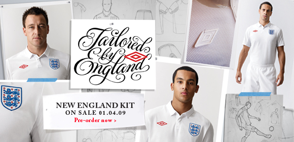 England players in new England Home Kit 2009/10
